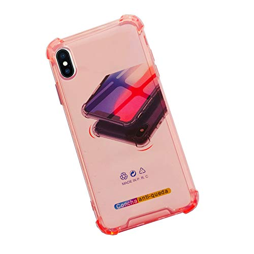ORIbox Case for iPhone X/Xs, Red Case with 4 Corners Shockproof Protection, Soft Scratch-Resistant TPU Cover for iPhone X/Xs, 5.8 inches, Pink