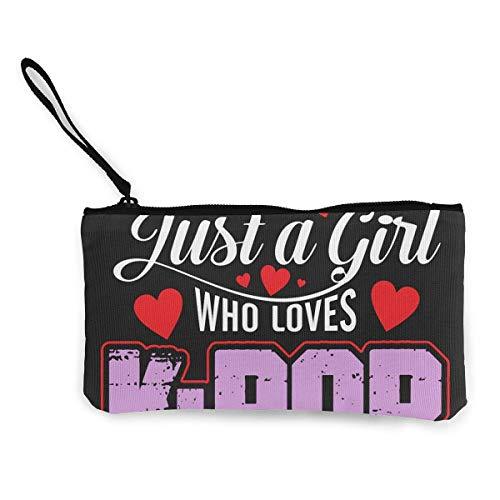 Monedero de Lona para Mujer, Just A Girl K-Pop Unisex Lienzo Patrón de impresión en...