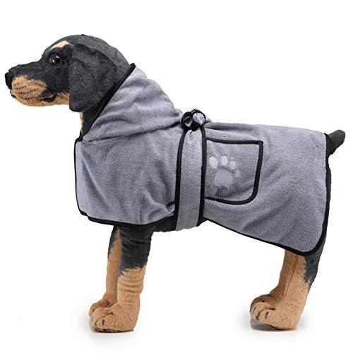 Angwis Saugfähiger Hundehandtuch-Bademantel, verstellbar, schnell trocknend, mit Kapuze und Taschen, für kleine, mittelgroße und große Hunde, Katzen, grau-S