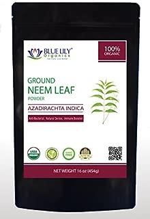 Blue Lily Organics Neem Leaf Powder   USDA Certified Organic   Azadirachta Indica   Vegan, Non-GMO & Gluten Free   Great for Improving Immunity, Skin, Hair & Digestive Functions   Shade Dried   1 Lb