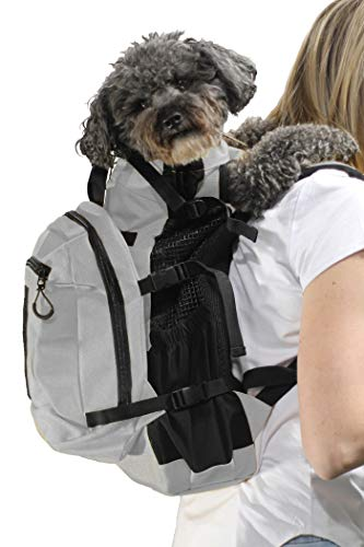 K9 Sport Sack | Dog Carrier Backpack for Small and Medium Pets | Front Facing Adjustable Dog Backpack Carrier | Fully Ventilated | Veterinarian Approved (Small, Air Plus - Light Grey)