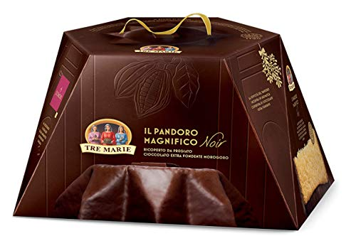Tre Marie: 'Il Pandoro Magnifico Noir' Italian Pandoro Covered with Fine Extra Dark Chocolate 1.87 Pound (850g)...
