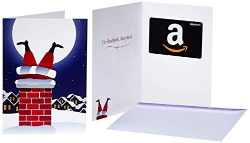 Amazon.de Geschenkkarte in Grußkarte (Weihnachtsmann im Kamin)