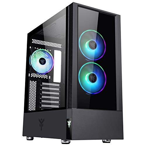 Itek, Vertibra Q210 - Caja PC Gaming Middle Tower ATX, 3 Ventiladores de 12 cm, Rejilla RGB Addressable Mando a Distancia radiofrecuencia, 2xUSB3, Panel Side Temp Cristal (Cristal Templado), Negro