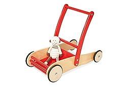 Pinolino Lauflernwagen Uli, aus Holz, mit Bremssystem, Lauflernhilfe mit gummierten Holzrädern, für Kinder von 1 – 6 Jahren, rot