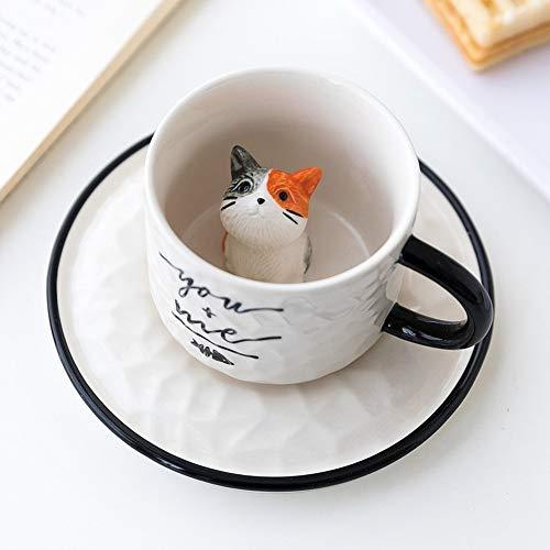 YDGHD Keramiktasse mit Katzenmotiv, mit Tablett, Kaffeebecher, Milch, Tee, Henkel, Porzellan, Rot