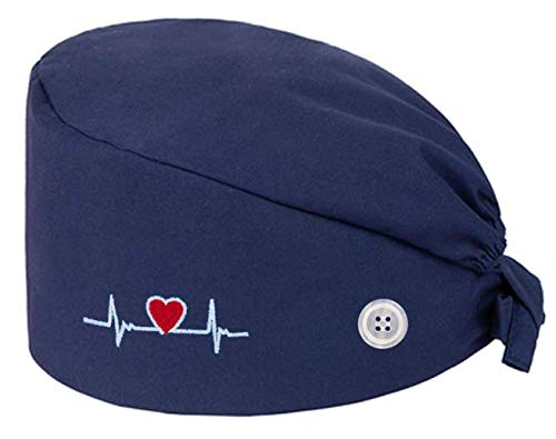 WOSNN Berretto Donna Chirurgico Cappello Uomo Cotone Chirurgico con Fascia Regolabile per Fodera Cuffietta Chirurgica Cuffia Infermiera Bandana Chirurgiche (Blu)