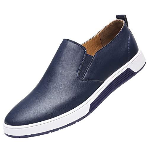 FNKDOR Schuhe Übergroße Größe (37-49) Herren Geschäft Lederschuhe Freizeit Berufsschuhe Slip-On Flacher Boden Turnschuhe Runder Kopf Faule Schuhe Blau 43 EU