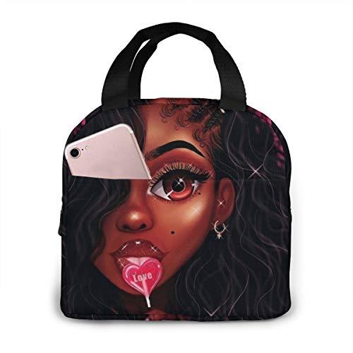 Matthzhang Lunch Bag Black Art African American Women Girl Afro Lollipop Insulated Lunch Tote Boxes Cooler Bag For Adults Men Women Kids Boys Nurses Teens