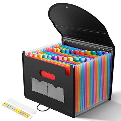 LOETAD Cartella Portadocumenti Porta Documenti Espandibile per Ufficio 24 tasche A4 con Coperchio Impermeabile Multicolore Fisarmonica per Casa Scuola e Lavoro