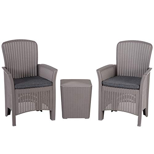 Outsunny 3 PCs Resin Rattan Effect Bistro Set Outdoor Wicker Weave 2 Chairs 1 Coffee Table with Cushions Garden Patio Furniture - Grey