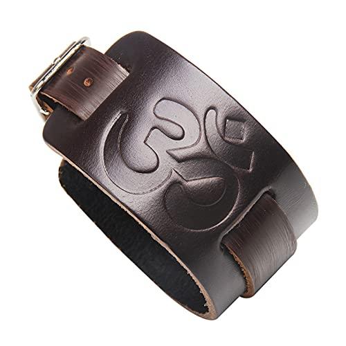 Buddista tibetano in pelle nera sei vero stile mantra punk braccialetto largo bracciale braccialetto bracciale per uomini e donne