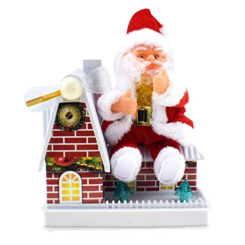 LIOOBO Babbo Natale Giocattolo Elettrico Bambola Musicale Peluche Natale Babbo Natale Canto Carillon Regalo Di Natale Per Bambini