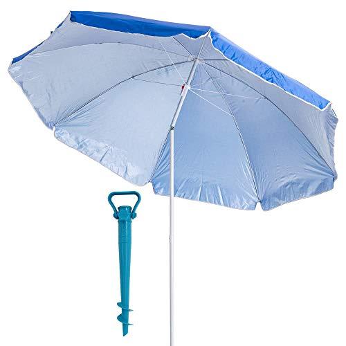 LOLAhome Pack sombrilla de Playa de Ø 220 cm Azul de Acero, y Soporte