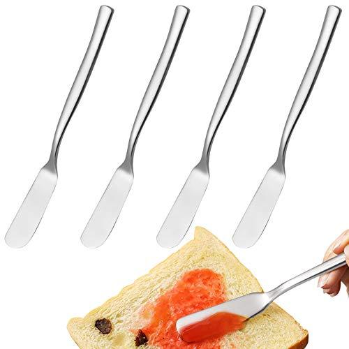 4 cuchillos de mantequilla de acero inoxidable pulido de 16,5 cm, para mermelada de pan, tartas de queso, mantequilla, utensilios de cocina
