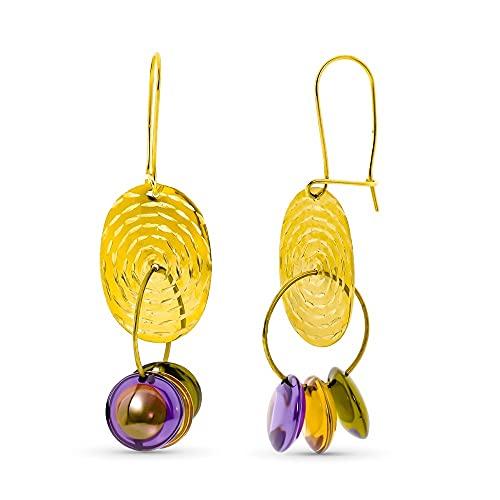 Pendientes oro 18k mujer largos chapa ovalada tallada combinada piedras color