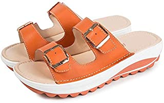 Summer Women Sandals Wedges Shoes Lady Sexy Leather Sandals Slippers Platform Shoes Simple casual sandals and slippers (Color : Orange, Shoe Size : 41)