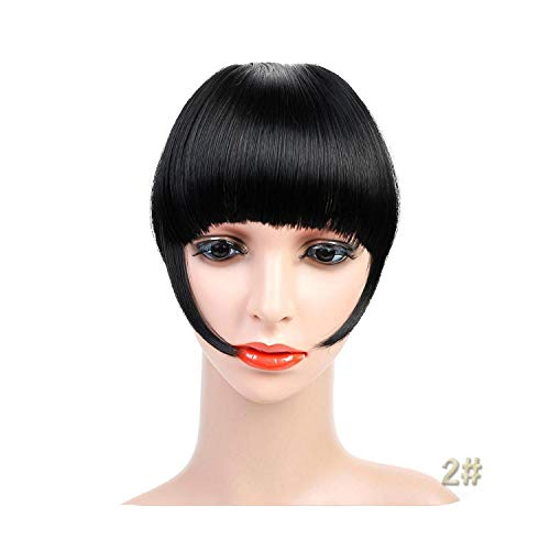 Naturel Noir Brun Neat Front Clip In Hair Bangs Extensions Clip On Synthetic Hair False Fringe Postiches Pour Femmes 2 Styles-21-