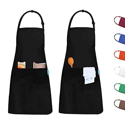 esafio 2 Pack Schürze Kochschürze Verstellbarem Küchenschürze mit 2 großen Taschen Wasserdicht Latzschürze Grillschürze für Frauen Männer, Küche, Restaurant, Schwarz