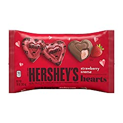HERSHEY'S Milk Chocolate Filled with Strawberry Flavored Crème Hearts Candy, Valentine's Day, 10 Oz.