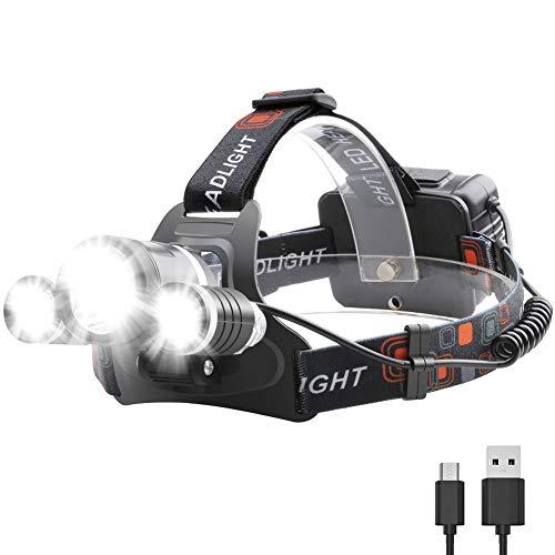 Boruit LED Stirnlampe USB Wiederaufladbar Kopflampe Taschelampe Upgrade Headlight 3*CREE XM-L2 T6 LED Superhell 5000LM mit 4 Lichtmodi Wasserdicht IPX-60 für Camping Fischerei Jagd