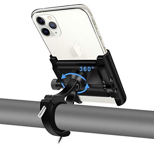 REETEE Handyhalterung Fahrrad Aluminium Motorrad Handy Halterung mit 360°Drehbarer Anti-Shake Motorrad Smartphone Halterung Scooter Universal für 4.0-6.8 Zoll Smartphone GPS Andere Geräte (schwarz)