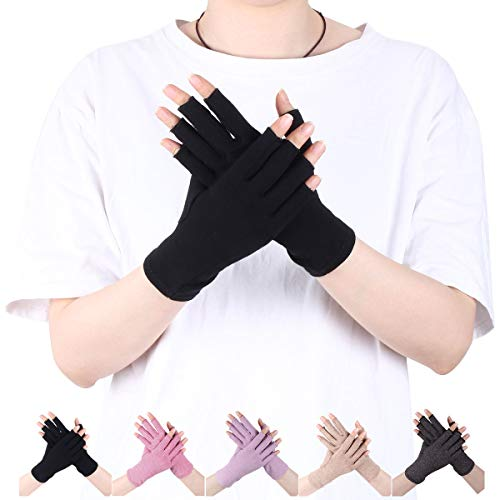 LADES DIRERCT Arthritis Handschuhe - Kompressions-Handschuhe Für Schmerzlinderung Rheumatische Arthritis Fingerlose Handschuhe Damen Herren Handschuhe Osteoarthritis Gelenkschmerzen (Schwarz, L)