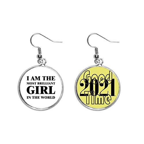 Pendientes de moda con texto en inglés 'I Am The Brilliant Girl Art Deco Gift Fashion Pendientes Pendientes Pendientes Joyería 2021 Good Luck