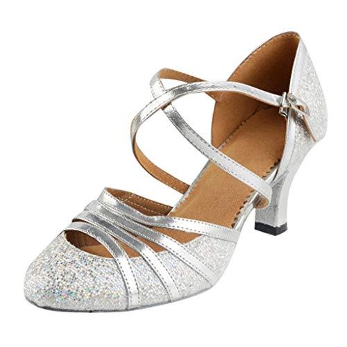 Damen Standard Latein Funkeln Tanzschuhe Frauen Ballsaal Salsa Tango Tanzen Schuhe Hochzeit Abendschuhe Knöchelriemen, Celucke Klassische Pumps Elegante Brautschuhe (Silber, EU35)