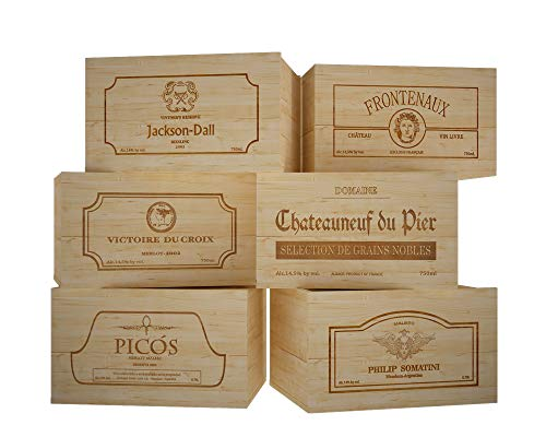 ZonaWine - Lote 6 Cajas de Madera para 6 Botellas de Vino/Logos Variados. Medidas: Alto 19-26-35 cm Fondo.