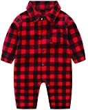 Newborn Baby Boy Plaid Romper Infant Jumpsuit Outfit Clothes (0-3 Months, Red Plaid Long Sleeved)
