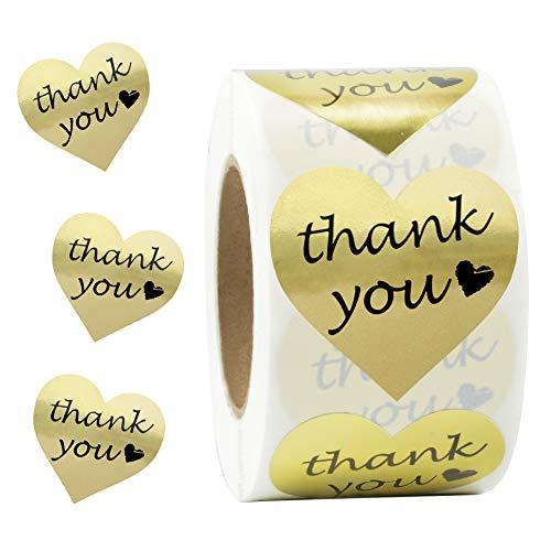 "SJPACK Gold Heart Shape Thank You Stickers, Foil Decorative Sealing Labels, 500 Stickers/Roll, 1.5"" Diameter (1 Roll)"