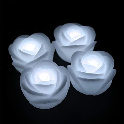Ardux - Candele galleggianti a LED, a forma di rosa, impermeabili, galleggianti, senza fiamma, con alimentazione a batteria, per decorazione di feste di matrimonio, plastica, bianco, 4Pcs/lot