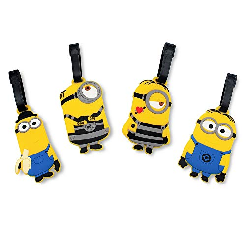Finex Set of 4 - The Minions Travel Luggage Tags Bag Tag with Adjustable Strap Yellow
