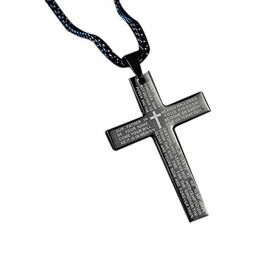 TOOGOO Collar de Cruz de Moda Colgante de Hombres Cadena de Cristal de Oro para Mujer Collar de OracióN de Cadena Regalo de Joyas Cristiana Negro