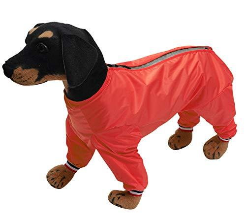 Geyecete Hosen-Anzug mit 1/2 Beinen, leicht, wasserdicht, für große, mittelgroße und kleine Hunde, Welpen, vier Beine, Rot-S-N