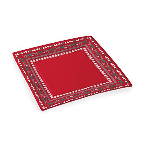 Le Nappage - Platos de cartón reciclado decorados Mi Ciervo Rojo - Cuadrado 24 x 24 cm - Juego de 10 platos de cartón rígido desechables