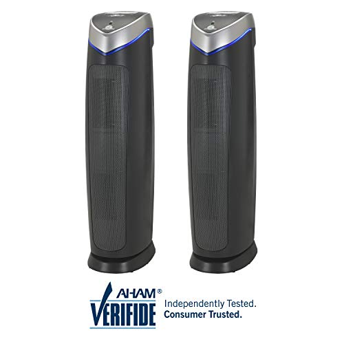 """Germ Guardian AC5250PT 28"""" 3-in-1 True Hepa Filter Air Purifier for Home & Pets, Large Rooms, Uv-C Sanitizer, Filters Allergies, Smoke, Dust, Dander, Odors, 2 Pack"""