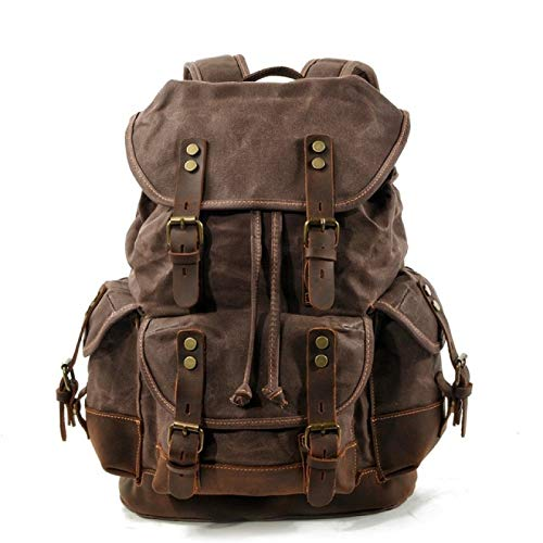 YFFSBBGSDK Men'S Backpack Men'S Leather Backpack, Men'S Large Capacity Waxed Canvas Retro Backpack, Used For School Hiking Travel Backpack