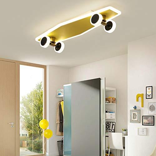 Lámpara de techo LED dorada con diseño de monopatín, para habitación infantil, para niños y amantes de los deportes, regulable, con mando a distancia, 60 cm de largo