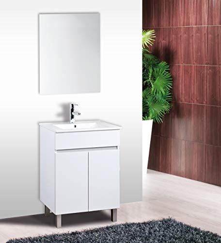 CTESI Conjunto de Mueble de baño con Lavabo de Porcelana y Espejo - con 2 Puertas - El Mueble va MONTADO - Modelo Luup (60 cms, Blanco)
