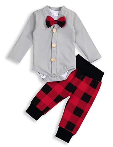 Newborn Baby Boy Christmas Outfits Gentleman Cardigan Suit+Bow Tie Bodysuit Inside+Pants 3Pcs Clothing Set (Grey-a, 3-6M)