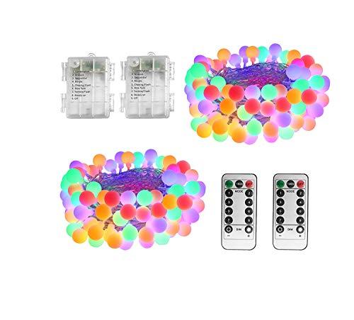 WOWDSGN Guirnaldas Luces Exterior Pilas Multicolor, WOWDSGN 7.5M 60LED Luces de Navidad con Batería, 8 Modos de Luces de Bola a Prueba de Agua con Control Remoto para Fiestas,Navidad (2pack)