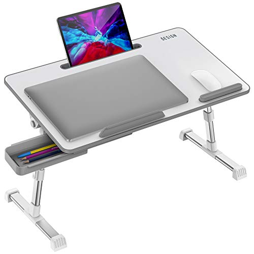 Besign LT06 Pro Adjustable Latop Table [Large Size], Portable Standing Bed Desk, Foldable Sofa Breakfast Tray, Notebook Computer Stand for Reading and Writing (White)