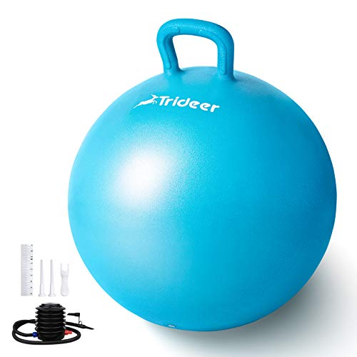 Trideer Kids Hopper Ball - Extra Thick Jumping Ball with Non-Slip Handle,Anti-Burst,New Version Sit & Bouncy Ball for Children Ages 3-12(55cm)