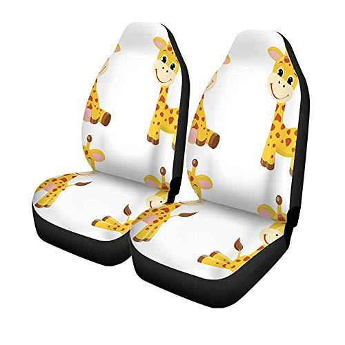 Set met 2 autostoelhoezen kleurrijke baby schattige cartoon giraffen geel safari dier hoog universeel auto voorstoelen protector 14-17IN