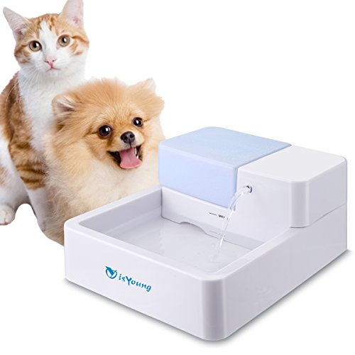 isYoung Cat Water Dispenser, Pet Fountain Ultra Quiet Drinking for Cats and Dogs 1.8L Water Capacity with Activated Carbon Filter and LED Lighting