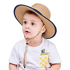 (コネクタイル) Connectyle 麦わら帽子 キッズ ベビー用 ストローハット 幼児 つば広 UVカット 中折れ帽子 子供 男の子 日焼け止め帽子 XL