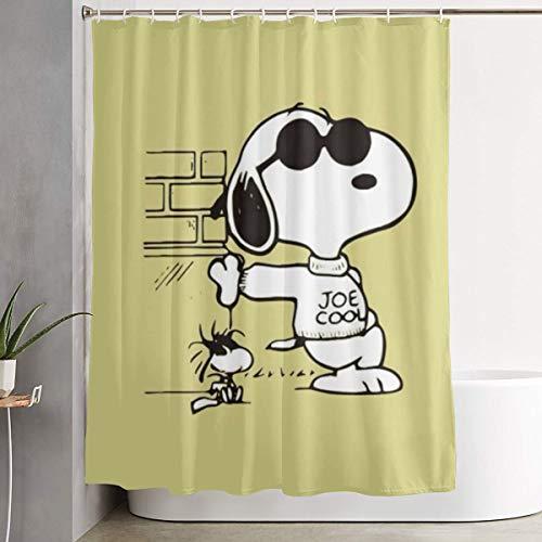 PKLUAS Duschvorhänge, modern, schimmelresistent, Snoopy-Motiv, bedruckt, dekoratives Badezimmer, mit Haken, 152,4 x 182,9 cm, Polyester, weiß, Einheitsgröße