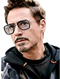 Black Eagle Tony Stark Iron Man Mirror Black Metal Men's and Women's Sunglasses